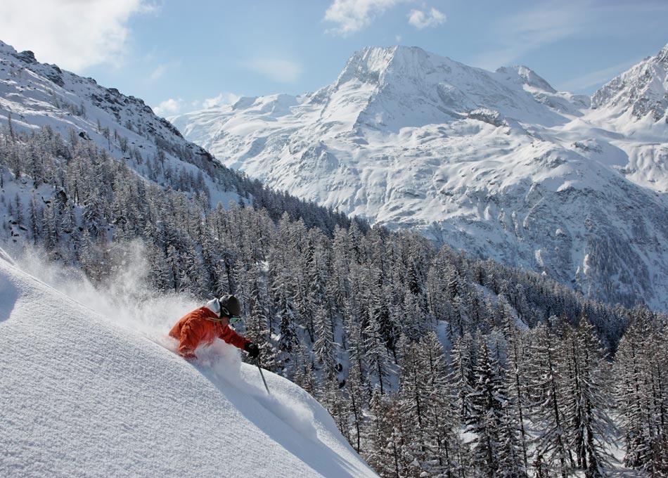 Female skier gliding through deep powder in Ste. Foy. pic Mark Junak